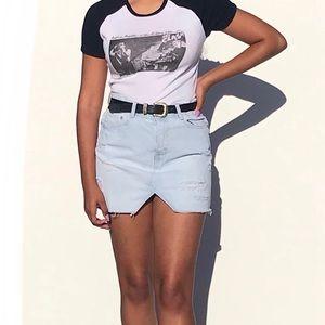 ZARA Denim Raw Edge Mini Skirt Size Small
